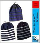 MENS STRIPED BEANIE HAT SOFT WARM WINTER SKI diff colours to choose from