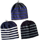 Mens Stripe Beanie Soft Warm Winter Ski Hat One Size Grey/Blue/Black