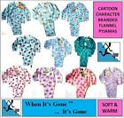 1-10 year GIRLS/BOYS FLANNEL/FLEECE WINCEY 100% COTTON PYJAMAS CARTOON CHARACTER