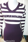 NEW WITH TAG GUESS V-NECK PURPLE MULTI SWEATER LONG SLEEVE TOP W/ RHINESTONES