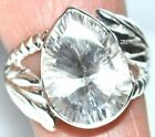White Crystal Quartz BIG Bling 925 Sterling SILVER Rings Ring Unique Jewellery