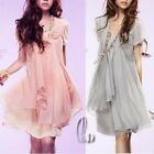 Lovely Womens Girls Chiffon Mini Dress Size S/AU6-8 dr063