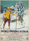 TV45 Vintage A3 1926 Winter Sport Italy Italian Ski Skiing Travel Poster