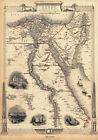 MP24 Vintage Old 1851 Historical Map Of Egypt The Nile Arabia Poster A1 A2 A3
