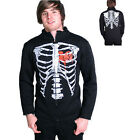 Darkside Clothing Rib Cage Red Heart Printed Black Zipped Collared Jacket