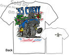 55 Chevy Rat Fink T shirt Big Daddy T 1955 Gasser Hot Rod Tee, Sz M L XL 2XL 3XL