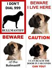 Bullmastiff Dog Signs Available In 4 Styles