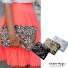 bg1 Celebrity Style Luxury Boxy Metallic Glitter Sequined Clutch Evening Bag