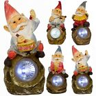 Outdoor Garden Gnomes Patio Solar Powered LED Light Ornament Novelty Statue Lamp