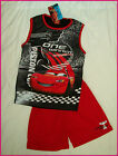 DISNEY CARS - Sz 4 6 8 or 10 BOYS TANK TOP & SHORTS SET - Lightning McQueen NEW