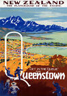 TR9 Vintage New Zealand Queenstown Travel Poster Re-Print A4