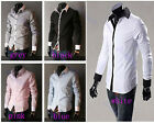 New Korean Stylish Men Simple Style Front Button Fit Dress Shirts Long Sleeve