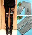 Sexy Ripped Stretch Torn New Slashed Leggings Punk Low Rise Render Pants Thights