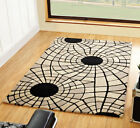 Large Heavy Thick Quality Wool Rug in Black Beige 3x5, 4x6, 5x8 Sizes Carpet