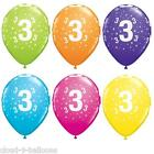 "5 Qualatex 11"" Helium Quality 3rd Birthday Party Balloons Age 3 Many Colours"