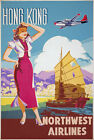 TX38 Vintage 1950's Hong Kong Travel Airlines Poster Re-Print A4