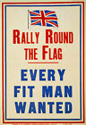 W81 Vintage 1914 WWI British Every Fit Man Wanted Enlist Army War Poster WW1 A4
