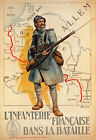 W9 Vintage WWI French Infantry Military War Recruitment Poster WW1 Re-Print A4