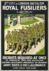 WA3 Vintage WWI British Royal Fusiliers Army War Recruitment Poster WW1 A4