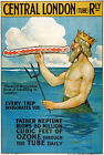 TX84 Vintage London Tube Underground Neptune Railway Travel Poster A4