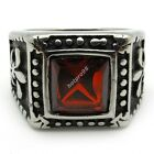 Red Crystal Ruby Fleur De Lis Men's Party Cocktail Ring 316L Stainless Steel