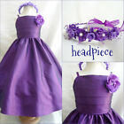 New SP7 Dark Purple children Pageant Flower Girl  dress size 1 2 4 6 8 10 12 14