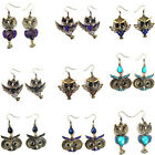 Fashion Retro Vintage Lady Girl Crystal Resin Bronze Owl Shaped Dangle Earrings