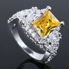 Luxury 7x9 Radiant Shape Stone S925 Sterling Silver Ring Lady Gift Multiple Size