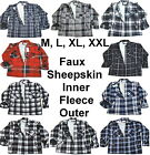 Faux Fur Lined Lumberjack Work Shirt/Jacket Fleece Zip M L XL XXL Black Red Blue