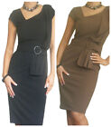 Ladies Dress Office Work Pencil Womens Bodycon Business New Size 10 12 14 16 18