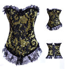 Sexy Burlesque Basque Top Corset Ruffle Lingerie Fancy Costume Plus Size 8-24