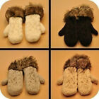 New Warm Mittens Knitted Full Finger With Line Winter Gloves Hot