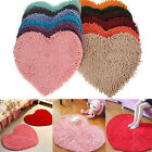 Fluffy Bedroom Rug Carpet Floor Bath Mat Red Love Heart Chenille Doormat 48x35cm