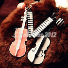 Alloy Pink Black Musical Note Violin Guitar Charm Pendant Necklace Lots FJ0162