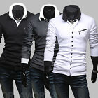 new unique oblique zipper Slim men's long-sleeved cardigan shirt