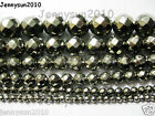 Natural Iron Pyrite Gemstone Faceted Round Beads 16'' 3mm 4mm 6mm 8mm 10mm 12mm