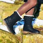 WOMENS GIRLS WINTER FAUX FUR QUILTED FLAT SNOW ANKLE MID CALF BOOTS SIZE UK 3-8