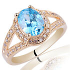 Oval Cut Stone Classic Dress Ring Gold Plated Sterling Silver Band Engraving Sz