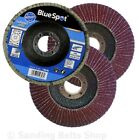 10 X FLAP DISCS 115mm SANDING 40 60 80 120 GRIT GRINDING WHEELS BLUE SPOT 4.5""
