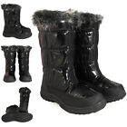 WOMENS LADIES BLACK WINTER WARM ZIP WATERPROOF SOLES GRIP SNOW BOOTS SIZE 3-8