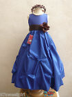 ROYAL BLUE BROWN BRIDESMAID PARTY FLOWER GIRL DRESS 2T 2 3 4 5 6X 6 7 8 10 12 14