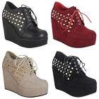 WOMENS LADIES SPIKES STUDS LACE UP PLATFORM ANKLE SHOES BOOTS WEDGES SIZES 3-8