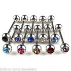 Gem Cz Tongue Bar Barbell - 13 Colours - 4 Lengths