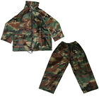Kids Waterproof Trousers & Jacket Boys Outdoor Army Camouflage Mac Rainwear Set