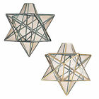 Vega Star Glass Ceiling Lantern Pendant Light Fitting Lamp Shade Brass or Chrome