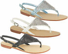 Ladies Designer Summer Sandals Women Diamante Flat Toe Post Slingback Shoes 3-8