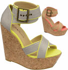 Ladies New DOLCIS High Heel Cork Wedge Ankle Strap Platform Summer Sandals Shoes