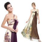 One Shoulder Floral Printed Evening Dress 09356