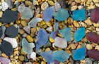 6 x Beach Sea Glass Single Hole Flat Freeform Pendant Beads Choose Color! PMX1