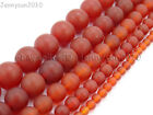 Matte Red Natural Carnelian Agate Gemstone Round Beads 15.5'' 4mm 6mm 8mm 10mm